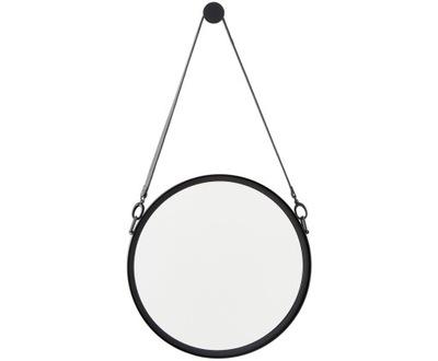Okrúhle nástenné zrkadlo s koženým očkom Liz Ø55cm