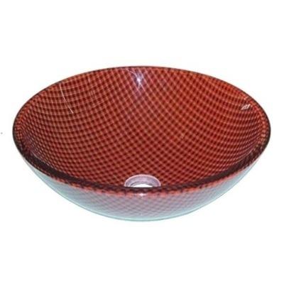 D148 Sklenené umývadlo kruhové červené mriežka 42cm