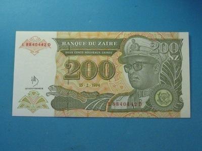 Заир Банкнота 200 Zaires 1994 UNC P-?????????? один
