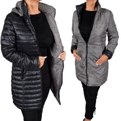 Płaszcz Pikowany kurtka damska dwustronna PlusSize