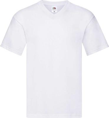 T-shirt męski V-neck w serek w Szpic BIAŁY L