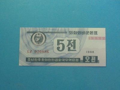 Korea Płn. Banknot 5 Chon P-24 ! UNC 1988 Rzadszy