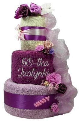 Tort 4 ręczniki PREZENT na Ślub Rocznicę Urodziny