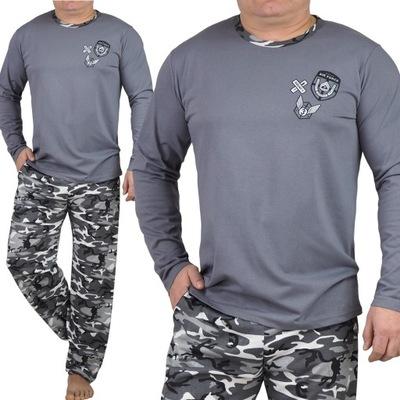 PIŻAMA MĘSKA bawełniana spodnie MORO kieszenie L