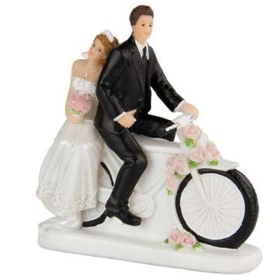 Figurka TORT MŁODA PARA na MOTOCYKLU wesele ślub
