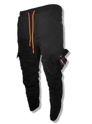 Joggery Męskie Spodnie Konkretna Czarne 2021 W32
