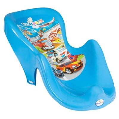 Fotelik do kąpieli antypoślizgowy Auta niebieski