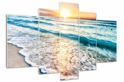 Obraz szklany duży tryptyk Zachód słońca plaża