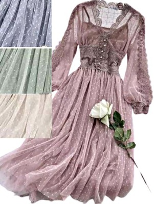 MD puder róż sukienka tiul koronka