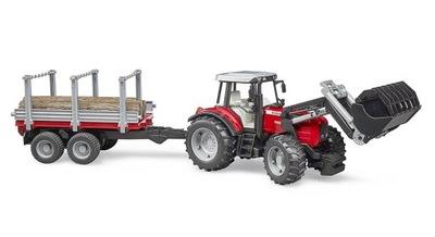 BRUDER 02046 Traktor Massey Ferguson z przczepą