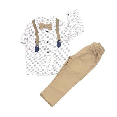 KOMPLET CHŁOPIĘCY koszula spodnie muszka szelk 128