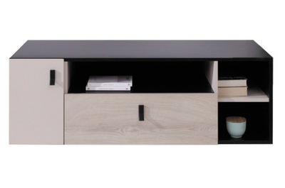 stolik szafka RTV szufladą czarny +dąb PLANET PL10