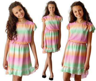 Sukienka FALBANKI szyfon OMBRE 146/152 EE576