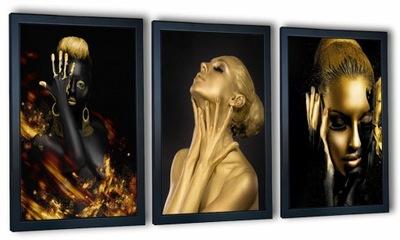 3 obrazy na ścianę w ramie kobiety i złoto 130x63
