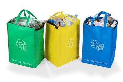 3 torby do segregacji śmieci odpadów MOCNE 40L EKO
