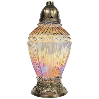 Znicz szklany lampion zdobiony + wkład DUŻY