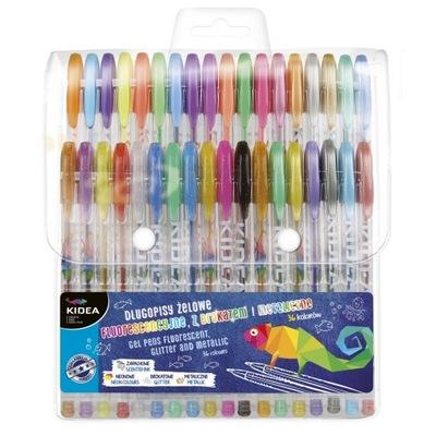 Długopisy żelowe brokatowe metal zapachowe 36 kol