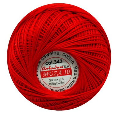 Kordonek Ariadna Muza 10 czerwony 343 bawełna