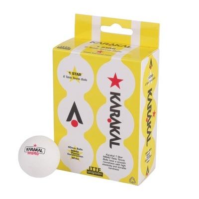 Piłeczki plastikowe Karakal 1-gwiazdka * Biały 6x