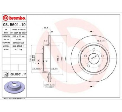 BREMBO ДИСК ТОРМОЗНОЙ 280X11 P FORD