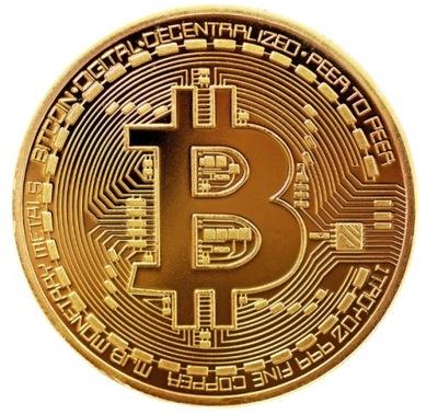 Bitcoin коллекционная BTC монета золото. Высота с