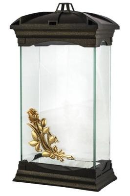 Znicz Kapliczka Szklany lampion26.5cm wkład gratis