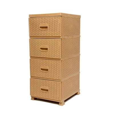 Komoda rattan szafka jasny brąz regał 4 szuflady