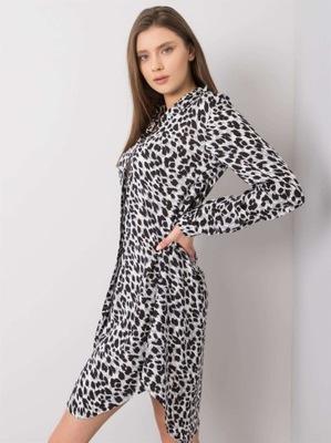 biało-czarna sukienka w cętki