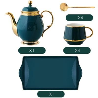 Zielonej Porcelany Filiżanki do Kawy z Czajniczek