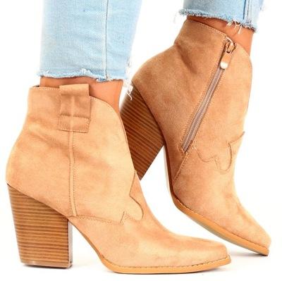 BOTKI damskie buty na obcasie zamszowe kowbojki