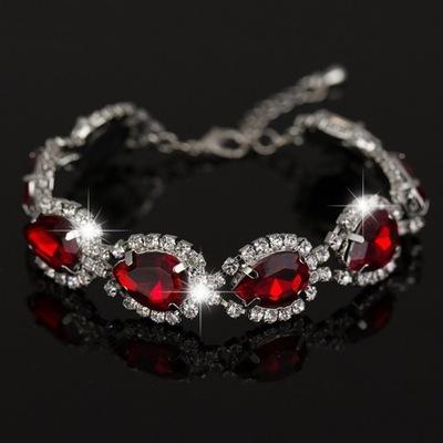 SYJUSZ Bransoletka B282 srebrna czerwone kryształy