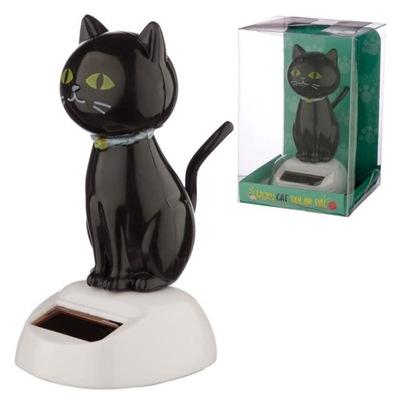 FIGURKA SOLARNA czarny kot MACHA GŁOWĄ OGONEM BUJA