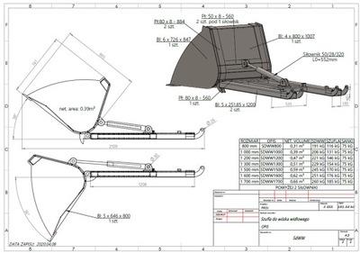 Łycha для погрузчика ковш 120 см лопата plug
