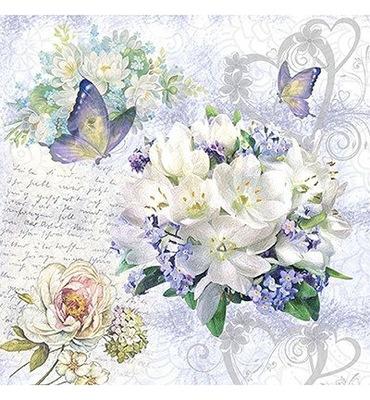 Serwetka 33x33cm - kwiaty bukiet motyle