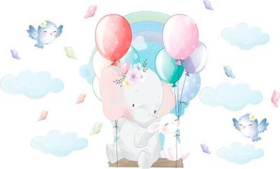 Samolepky na stenu pre deti Sloní balóniky D171 200cm