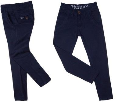 spodnie WIZYTOWE 187 na gumce 122/128 GRANAT elast