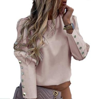 Bluzka Różowa LOV Elegancka Codzienna Guziczki M