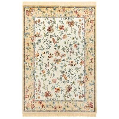 Dywan ekskluzywny bawełniany beżowy w kwiaty, duży