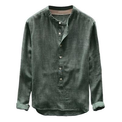 Tunika Plus Size 4XL Koszula męska z litego lnu Po