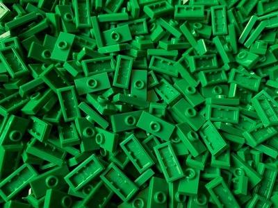 LEGO 15573 plate z wypustką 1x2 Green 40 szt Nowe