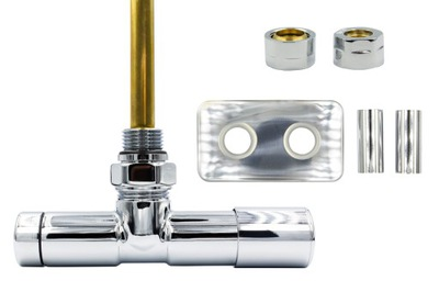 Chrómový regulačný ventil Unico 50 mm + spojky Cu + rozety vpravo
