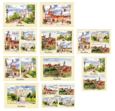 LUBLIN pocztówki akwarele 10 szt
