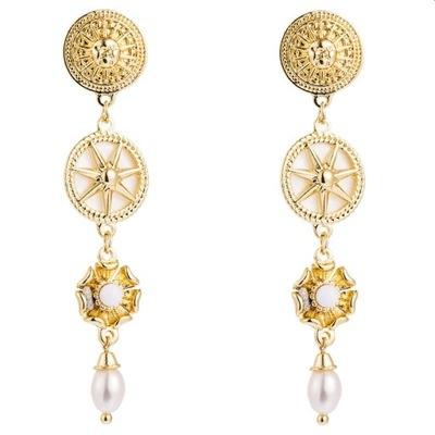 Kolczyki słońca złote z perłami zwis 6 cm