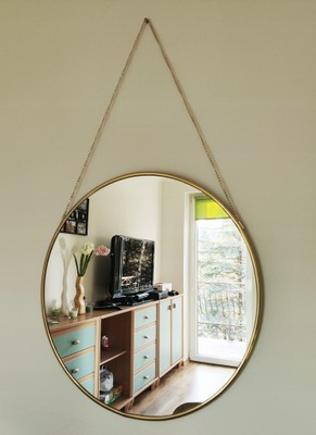 Kruhové zlaté zrkadlo / kruh na retiazke, opasok 50