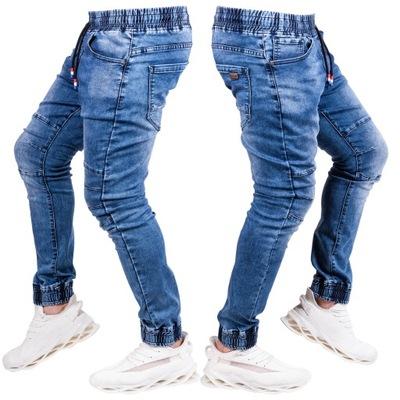 R.33 spodnie męskie JEANS joggery przeszycia Rose