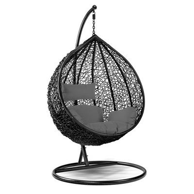 Кресло висящий Даля ТЕХНО Ротанг Черный Серый