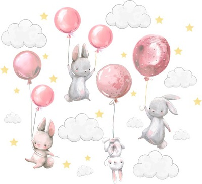 Samolepky na stenu Zajačiky balóniky pre deti 200 3