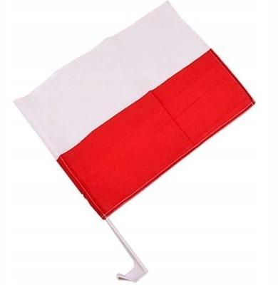 Zestaw dwóch flag samochodowych POLSKA 30 x 45