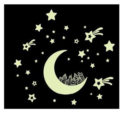 Świecące naklejki na ścianę sufit gwiazdy ksieżyc