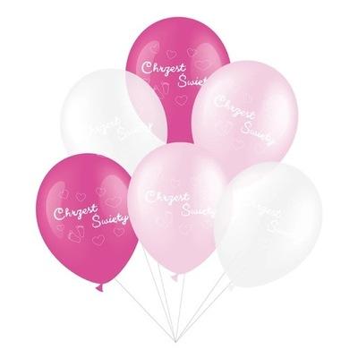 Balony duże zestaw na Chrzest róż 6szt